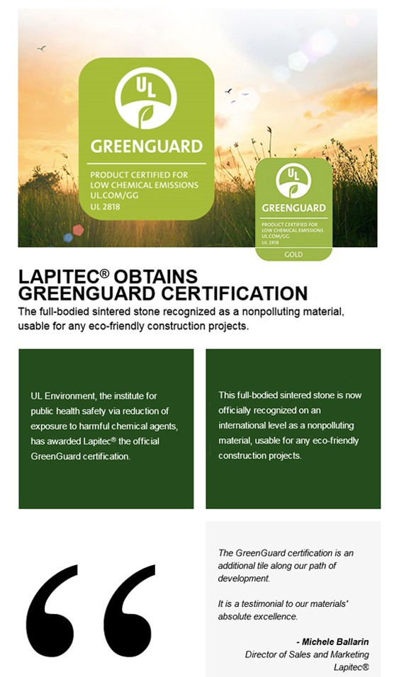 Lapitec Obtains Greenguard Certification